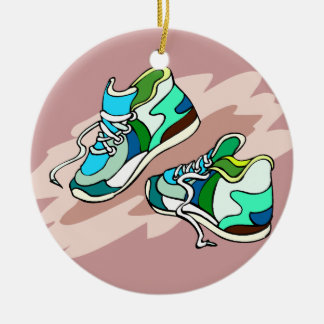 Running Shoes Round Ceramic Decoration