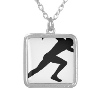 running silver plated necklace