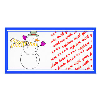 Running Snowman w/Scarf in the Wind Photo Cards