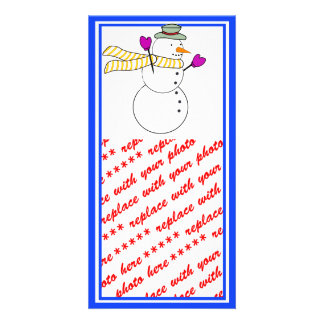 Running Snowman w/Scarf in the Wind Photo Card