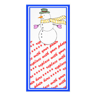 Running Snowman w/Scarf in the Wind Photo Card Template