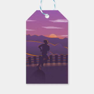 Running sunrise gift tags