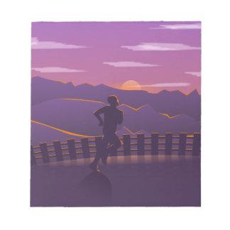 Running sunrise notepad