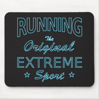RUNNING, the original extreme sport (blue neon) Mouse Pad