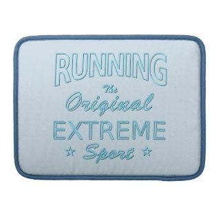 RUNNING, the original extreme sport (blue neon) Sleeve For MacBooks