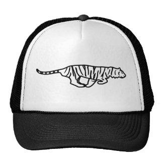 Running Tiger Line Art Hat