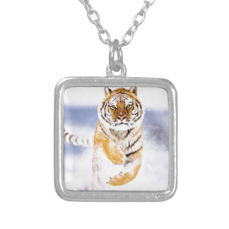 Running Tiger Square Pendant Necklace