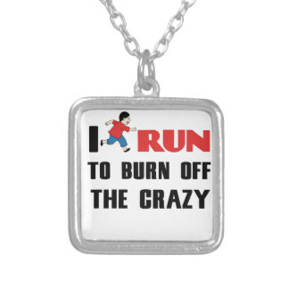 running to burn off the craziness silver plated necklace