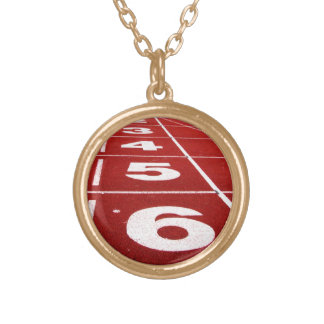 Running Track Round Pendant Necklace
