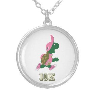 Running Turtle 10K - Pink Round Pendant Necklace