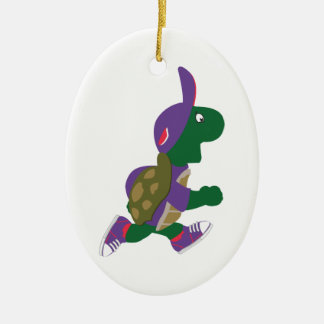 Running Turtle Ceramic Ornament