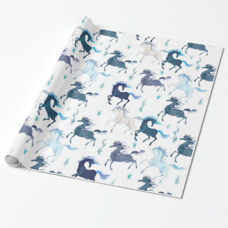Running Unicorns glossy wrapping paper