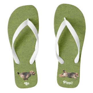 Running Welsh Terrier Flip Flops