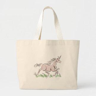 running wild pink unicorn jumbo tote bag