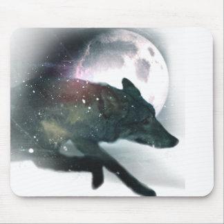 Running Wild Wolf Moon Sky Mouse Pad