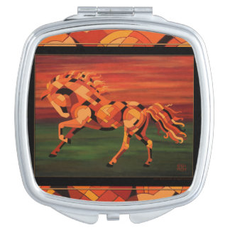 Running with Fire Horse Compact Mirror