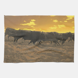 Running with the Boys Bull Kitchen Towel