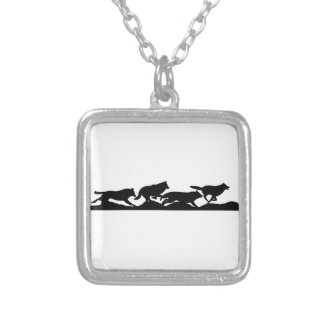 Running with wolves square pendant necklace