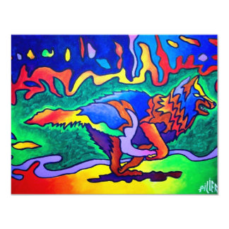 Running Wolf by Piliero 11 Cm X 14 Cm Invitation Card