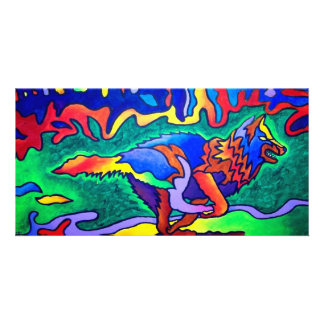 Running Wolf by Piliero Personalised Photo Card