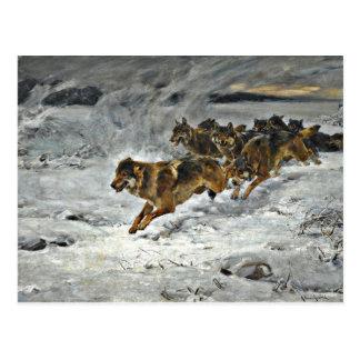 Running Wolf Pack Postcard