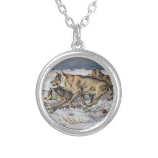 Running Wolves Vintage Illustration Custom Necklace