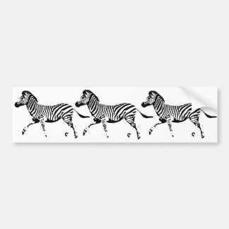 Running Zebra Bumper Sticker