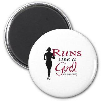 Runs Like a Girl 6 Cm Round Magnet