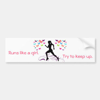 Runs Like a Girl Bumper Sticker
