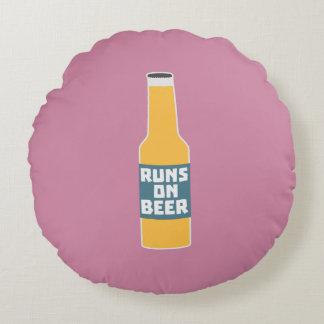 Runs on Beer Bottle Zcy3l Round Cushion