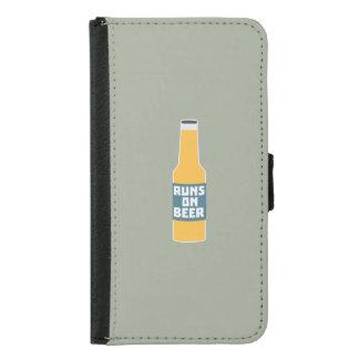 Runs on Beer Bottle Zcy3l Samsung Galaxy S5 Wallet Case