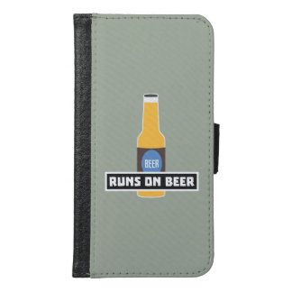 Runs on Beer Z7ta2 Samsung Galaxy S6 Wallet Case