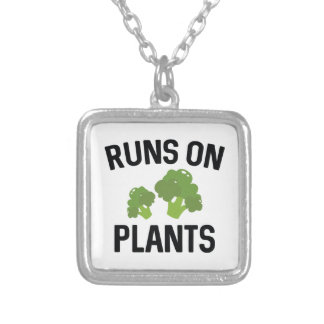 Runs On Plants Silver Plated Necklace