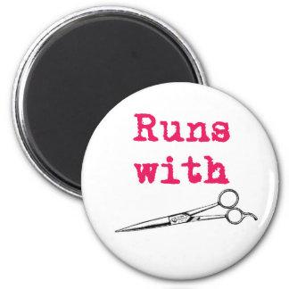 Runs With Shears Hair Stylist Magnet