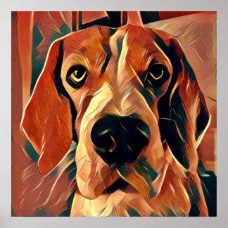 Rupert the Beagle Dog Large Square Poster
