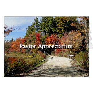 Rural Bridge in Fall Pastor Appreciation Scripture Greeting Card