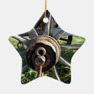 rural cart wheel ceramic star decoration