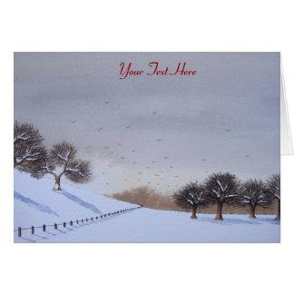 Rural christmas snow scene landscape art card