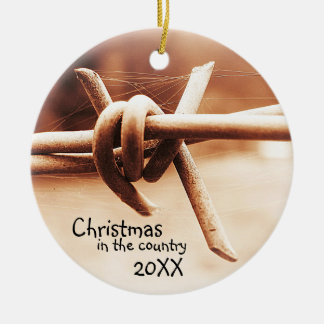 Rural Country Christmas with Year Ceramic Ornament