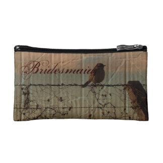 Rural Farm fence bird western barn bridesmaid Makeup Bags