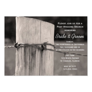 Rural Fence Post Country After Wedding Brunch 13 Cm X 18 Cm Invitation Card