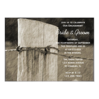 Rural Fence Post Country Farm Engagement Party 13 Cm X 18 Cm Invitation Card