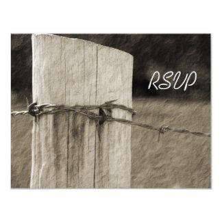 Rural Fence Post Country Farm Wedding RSVP Card 11 Cm X 14 Cm Invitation Card