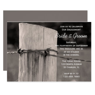 Rural Fence Post Country Ranch Engagement Party Card