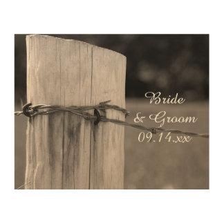 Rural Fence Post Country Ranch Wedding Keepsake Wood Print