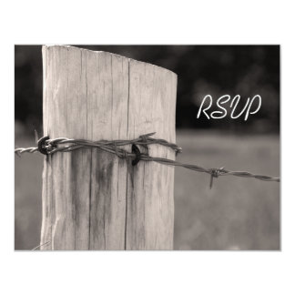 Rural Fence Post Country Ranch Wedding RSVP 11 Cm X 14 Cm Invitation Card