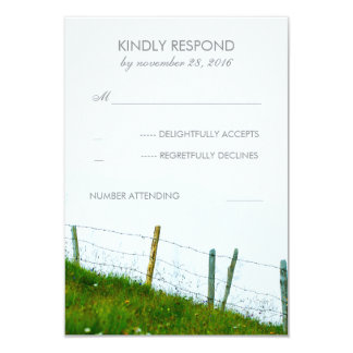Rural Fence Post Country Rustic Wedding RSVP 9 Cm X 13 Cm Invitation Card