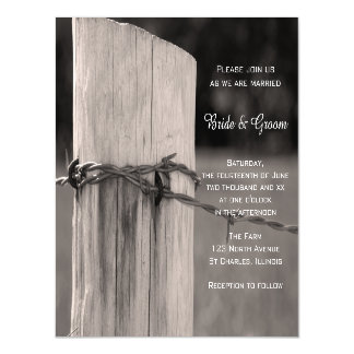 Rural Fence Post Country Wedding Magnetic Invitations