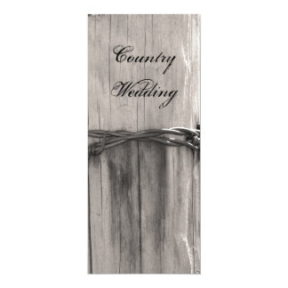 "Rural Fence Post Country Wedding Program 4"" X 9.25"" Invitation Card"
