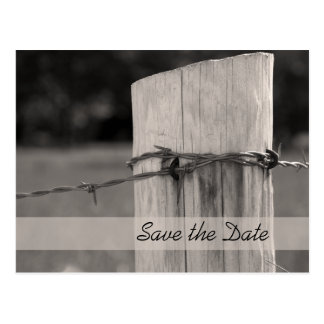 Rural Fence Post Country Wedding Save the Date Postcard